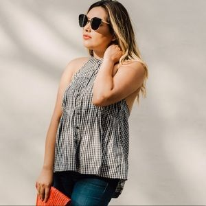 NEW Free People Take It Easy Gingham Backless Halter Top